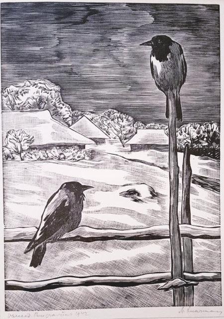 """Märt Laarman puugravüür """"Varesed""""1942"""