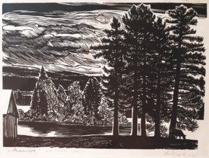 """Richard Kaljo """"Maastik"""" linoleum 1964"""