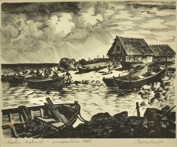 Esko Lepp Muhu kalurid puugravüür 1958