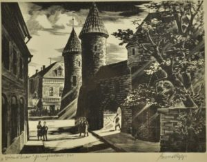 Esko Lepp Viru värav puugravüür 1960