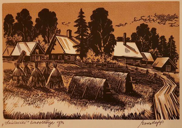 """Esko Lepp """"Leivavili"""" linoollõige 1973"""