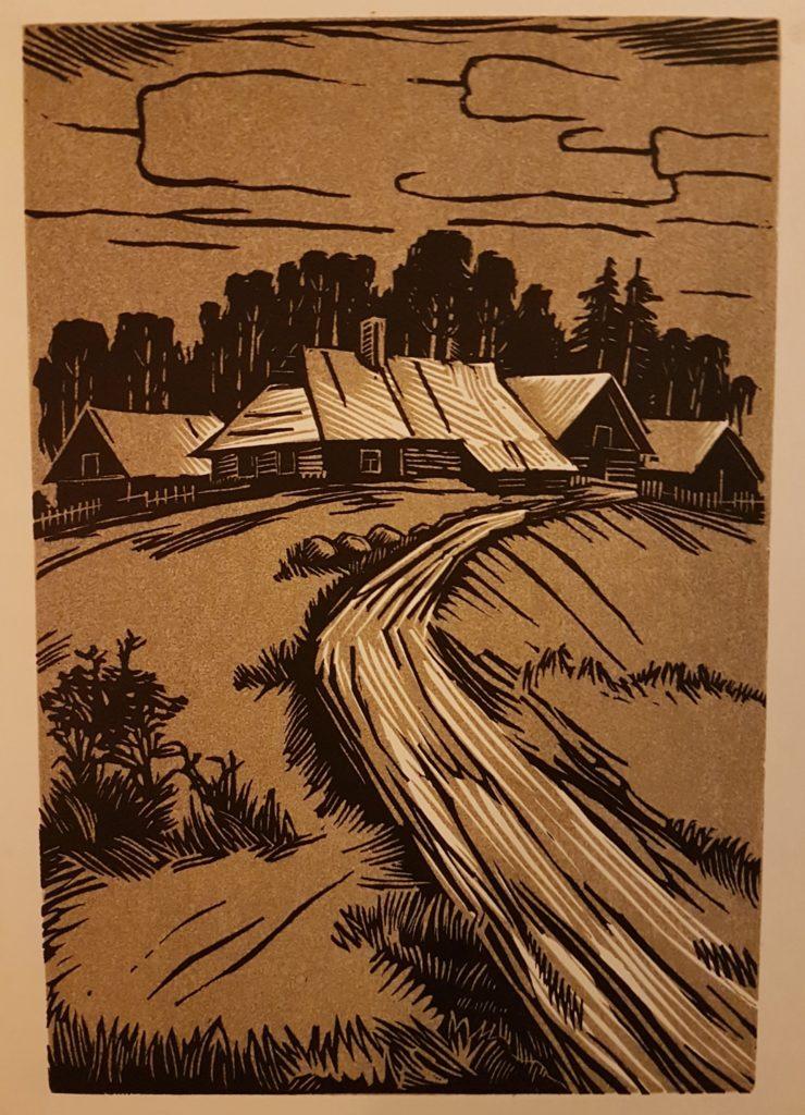 """Esko Lepp """"Mäeotsa"""" linoollõige 1973"""