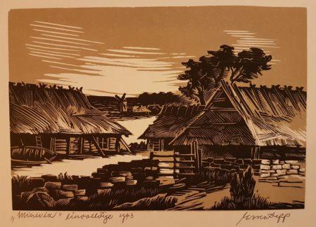 """Esko Lepp """"Minevik"""" linoollõige 1973"""