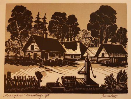"""Esko Lepp """"Puhkepäev"""" linoollõige 1975"""