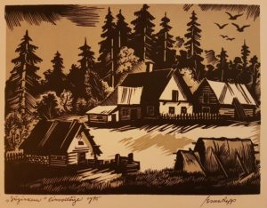 """Esko Lepp """"Sügiskuu"""" linoollõige 1975"""