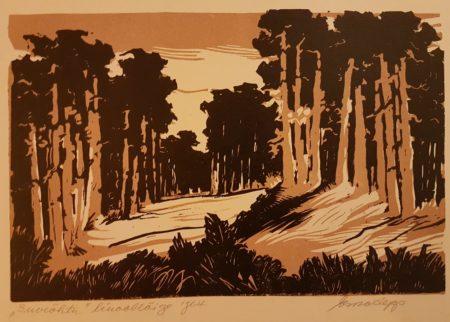 """Esko Lepp """"Suveõhtu"""" linoollõige 1964"""