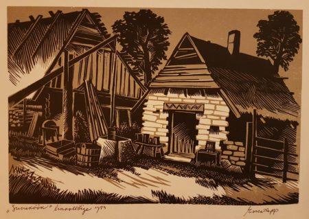 """Esko Lepp """"Suveköök"""" linoollõige 1973"""