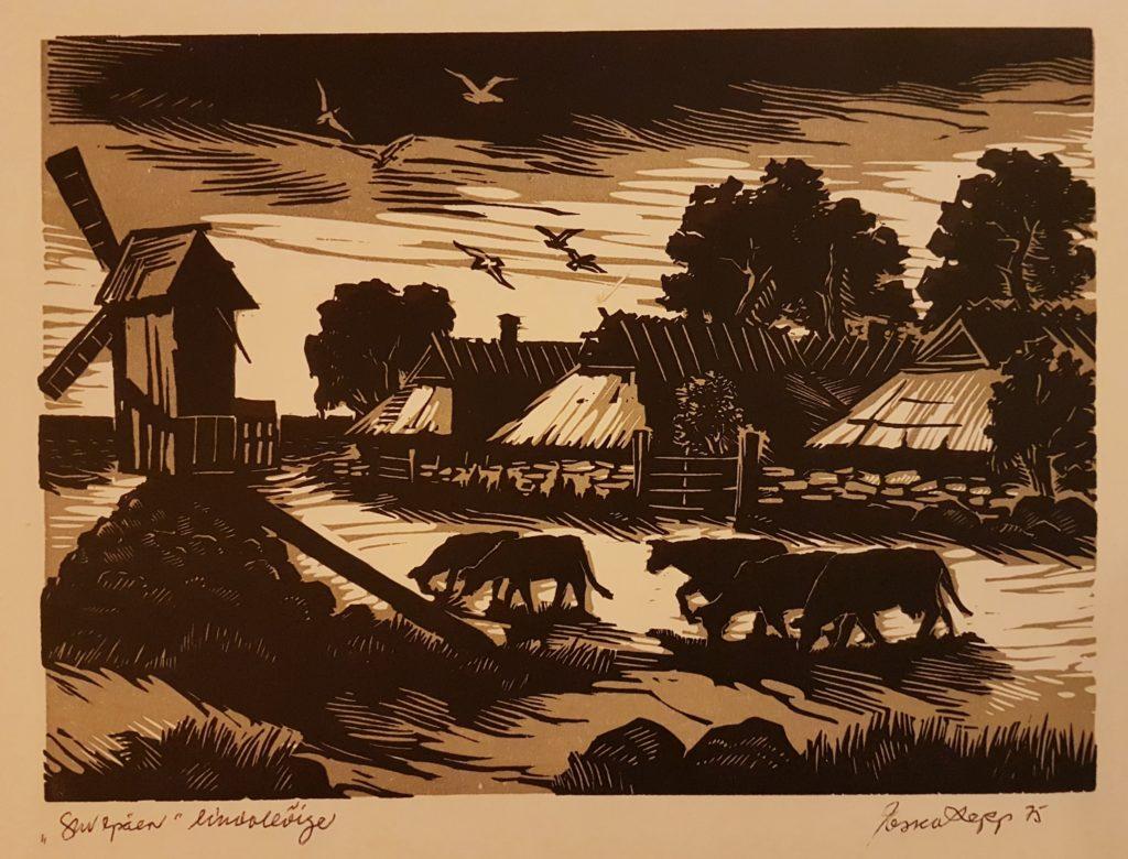 """Esko Lepp """"Suvepäev"""" linoollõige 1975"""