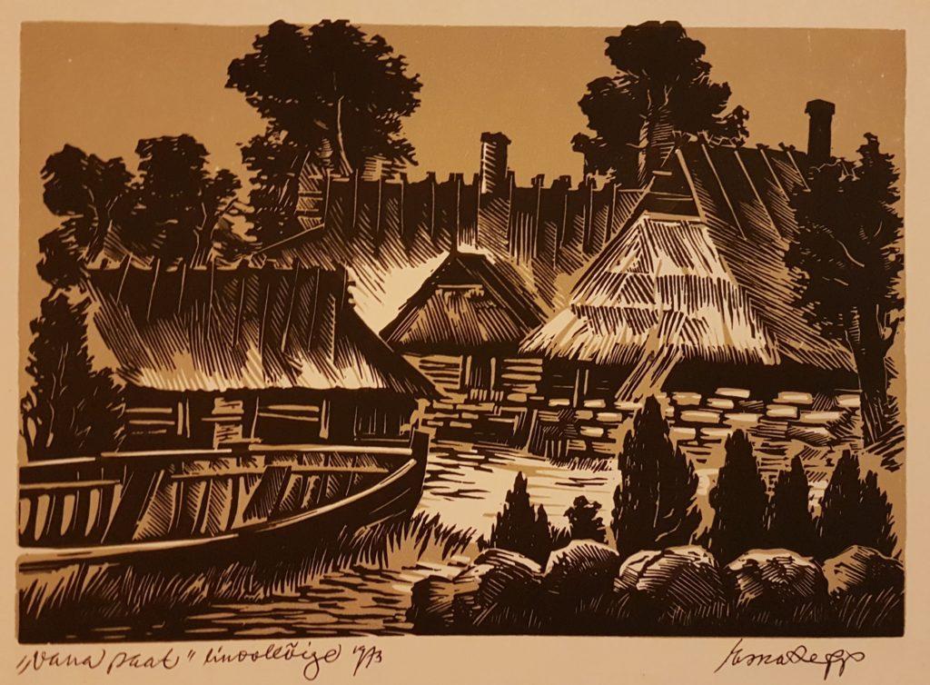 """Esko Lepp """"Vana paat"""" linoollõige 1973"""