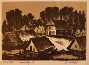 """Esko Lepp """"Vana talu II"""" linoollõige 1973"""
