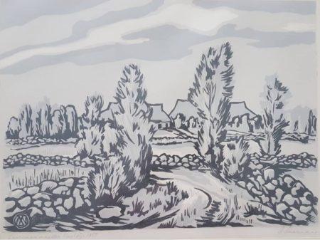 Märt Laarman Saaremaa maastik puulõige 1958