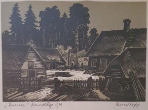 """Esko Lepp """"Õueaed"""" linool 1973"""