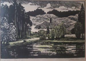 """Gita Teearu """"Võru-Kubija"""" linool 1965"""