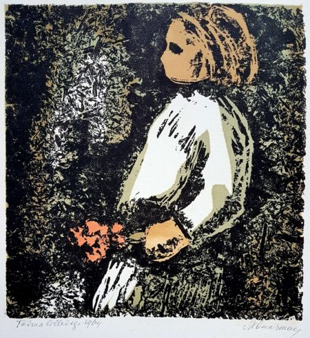 """Märt Laarman """"Tüdruk Lilledega"""" puruplaat trükk 1964"""