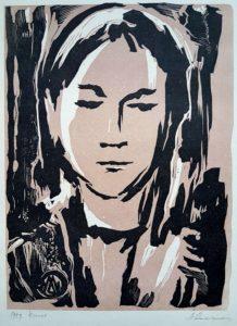 """Märt Laarman """"Tütarlapse portree"""" linool 1959"""