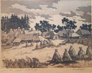 "Esko Lepp ""Vana talu Haanjas"" Akvatinta 1961"