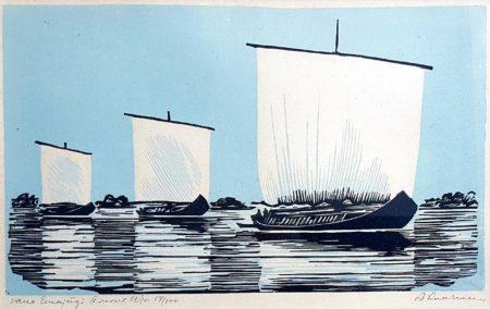 """Märt Laarman """"Vana Emajõgi"""" 1970 linool"""