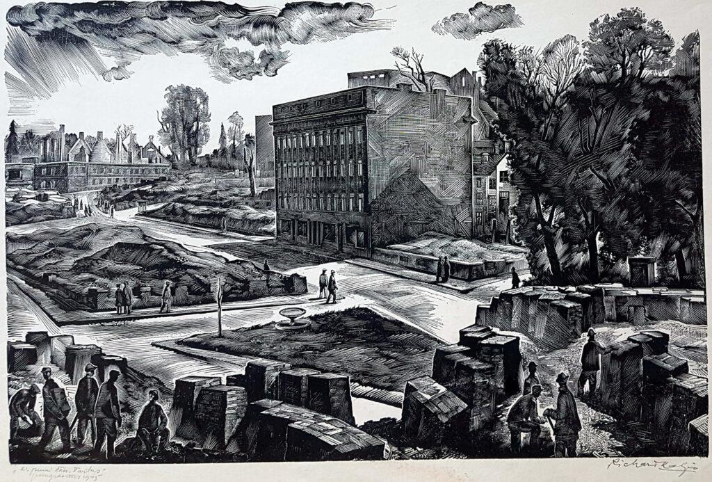 """Richard Kaljo """"21. juuni tänav Tartus"""" puugravüür 1945"""
